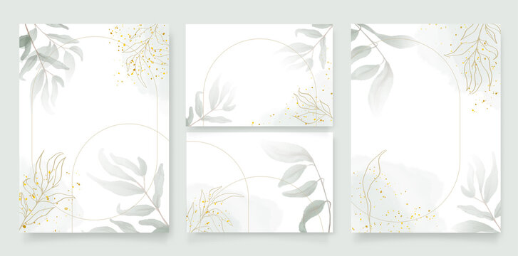 Luxury wedding invitation card background with golden arch shape line and botanical leaves, Watercolor splash. Vector invite design for wedding and vip cover template.Abstract art background vector.