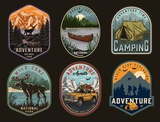 Fototapeta Camping and national park vintage labels obraz