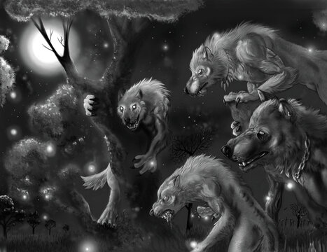 Illustration of a group of werewolves on a full moon night
