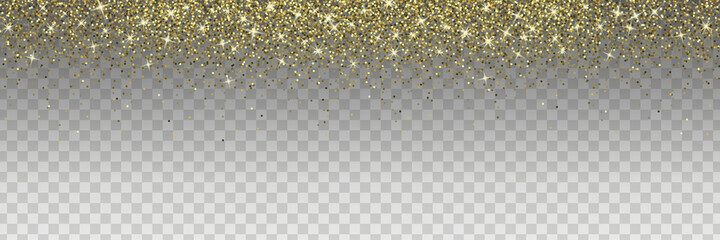 Fototapeta Sparkling glitter isolated on transparent background. Golden vector design element for cards, invitations, posters and banners. obraz