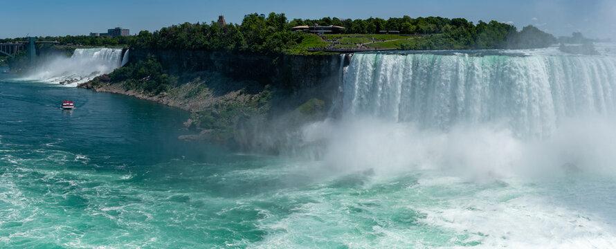 Two Niagara Falls, Canadian Horseshoe and American waterfalls. Natural landmark, tourist destination, Ontario, Canada