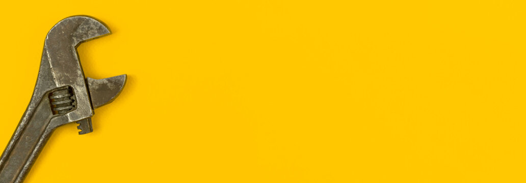 Construction tool flat lay banner background, yellow office table, top view with copy space