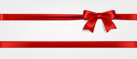 Obraz Red ribbon and bow realistic illustration - fototapety do salonu