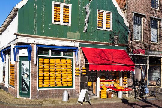 Cheese and wine shop in the picturesque town of Edam in Holland.