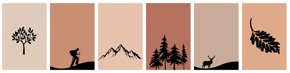 Printable card set. Mountain landscape. Abstract pattern for print, cover, wallpaper, minimalist and natural wall art.