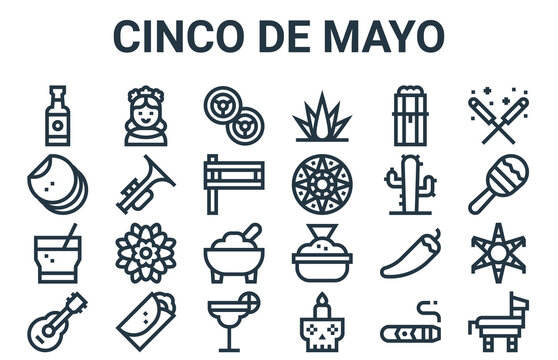linear pack of cinco de mayo line icons. simple web vector icons set such as pi?ata, guitar, cactus, tamal, jalapeno. vector illustration.