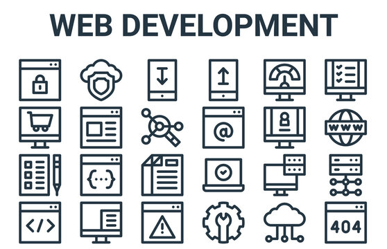 linear pack of web development line icons. linear vector icons set such as error, coding, log in, speedometer, download. vector illustration.