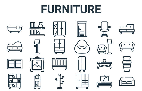 linear pack of furniture line icons. simple web vector icons set such as couch, shelf, armchair, office chair, wardrobe. vector illustration.