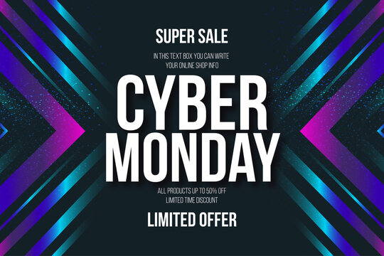 cyber monday banner memphis style with text editable
