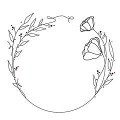 Obraz Okrągła kwiatowa ramka - kontury listków i kwiatów z czerwonymi akcentami w postaci kropek. Wzór na karty, voucher, życzenia i zaproszenia ślubne. - fototapety do salonu