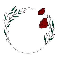 Fototapeta Piękny wianek na białym tle. Okrągła kwiatowa ramka - listki i kwiaty z dodatkiem zieleni i czerwieni z akcentami w postaci kropek. Romantyczny, kobiecy wzór ślubny, na zaproszenia, voucher, kartki. obraz