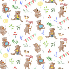 Fototapeta Adorable animal illustration seamless pattern for kids project, fabric, scrapbooking, crafting, invitation and many more. obraz