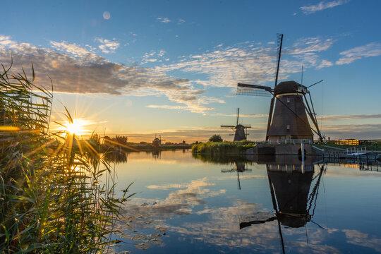 Amazing sunset over the windmills of Kinderdijk, Netherlands