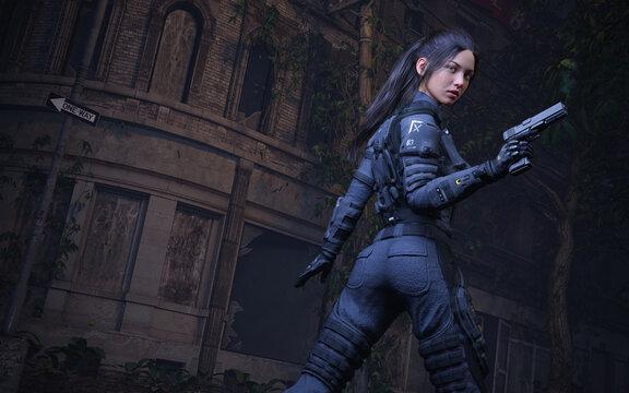 Police Woman - Dark Abandon City Street