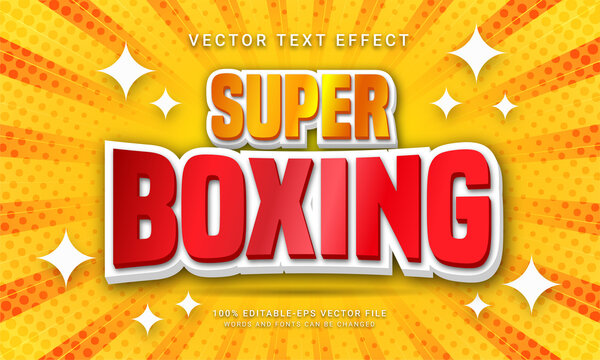 Super boxing editable text effect with world boxing competition theme