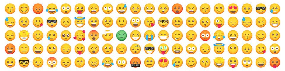 Obraz Big set of 100 emoticon smile icons. Cartoon emoji set. Vector emoticon set - fototapety do salonu