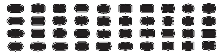 Set of blank vintage labels frames in black