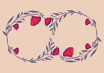 Obraz Szablony ramek z wzorem roślinnym w prostym nowoczesnym stylu z listkami i kwiatami - romantyczny, kobiecy wzór na zaproszenia ślubne, życzenia, kartki urodzinowe, tło dla social media stories. - fototapety do salonu