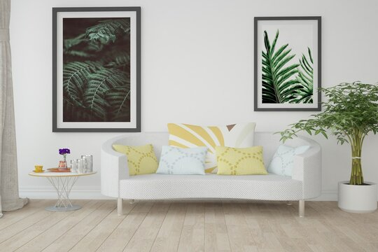modern room with sofa,pillows,pictures,table,plant and curtains interior design. 3D illustration