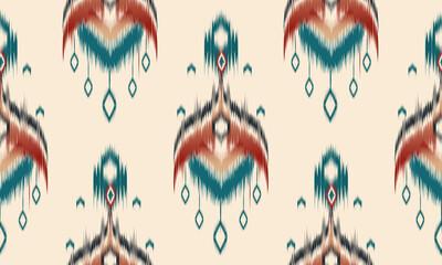 Fototapeta Abstract ethnic ikat chevron pattern background. ,carpet,wallpaper,clothing,wrapping,Batik,fabric,Vector illustration.embroidery style. obraz