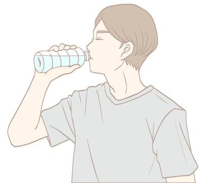 水分補給する男性(パステルカラー)