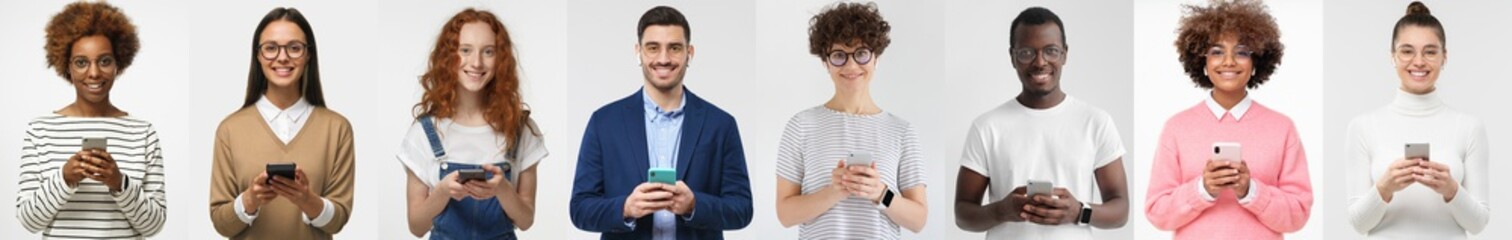 Fototapeta Group portrait of happy smiling multiethnic young men and women holding smartphones. People phone collage set obraz