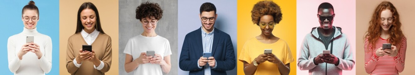 Many people with phones collection. Group of smiling men and women texting or browsing with...