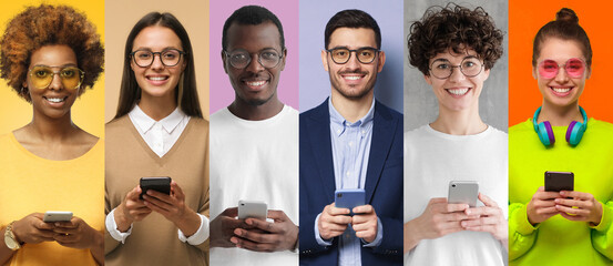 Group portrait of happy smiling multiethnic young men and women holding smart phones. People...