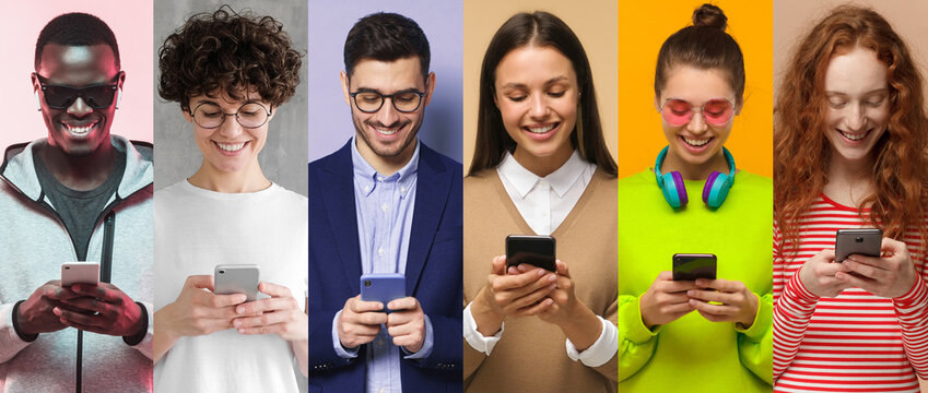 Many people with phone collection. Group of smiling men and women texting or browsing with smartphone