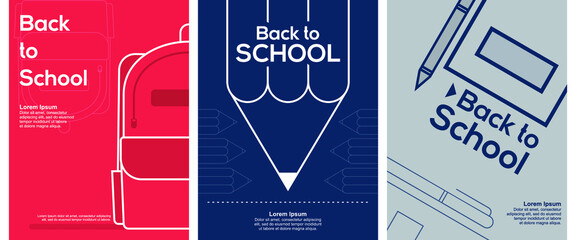 Fototapeta Back to School. Set of 3 simple Background Vector Illustration Flat Style. Suitable for poster, cover, web, social banner, or flyer. obraz