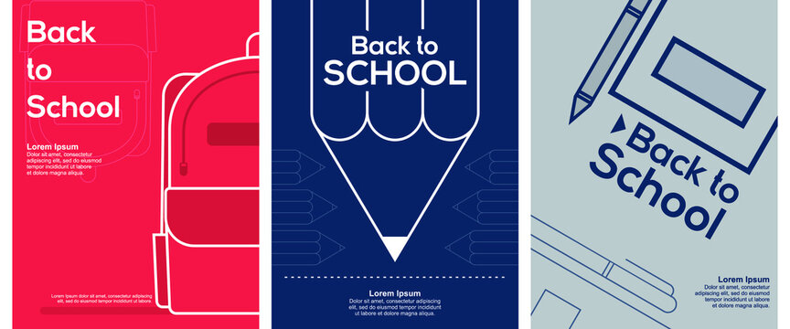 Back to School. Set of 3 simple Background Vector Illustration Flat Style. Suitable for poster, cover, web, social banner, or flyer.