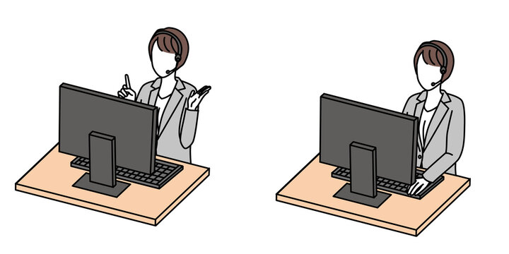 Woman working with computer online meeting