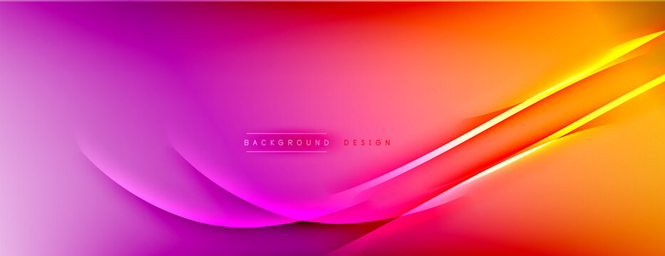 Abstract background - lines composition created with lights and shadows. Technology or business digital template. Trendy simple fluid color gradient abstract background with dynamic