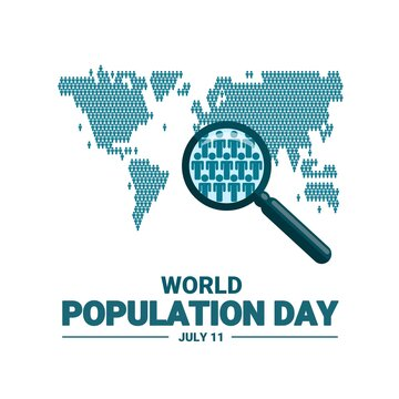 Vector illustration of human icons forming a world map, as a banner, poster or template for world population day.