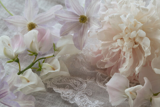 Floral background with pink and white peony, sweet peas, linen fabric, lace, blur, selective focus. Greeting card for wedding, mother's day, birthday