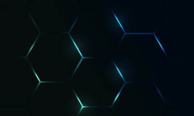 Fototapeta Dark hexagon gaming abstract vector background with blue and green colored bright flashes. Vector illustration. obraz