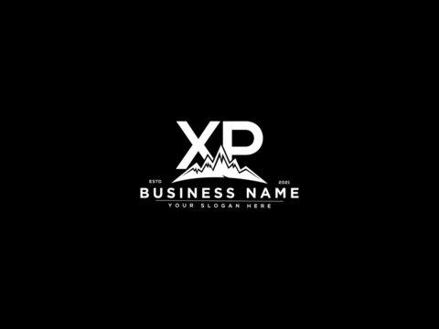 Letter XP Logo, mountain xp logo icon vector for river forest hill landscape silhouette image design