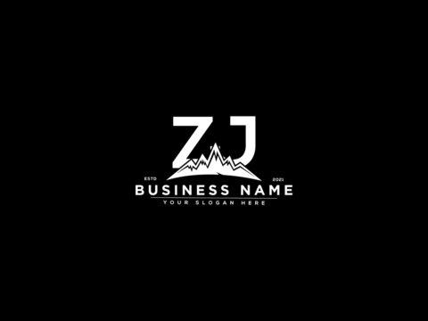Letter ZJ Logo, mountain zj logo icon vector for river forest hill landscape silhouette image design