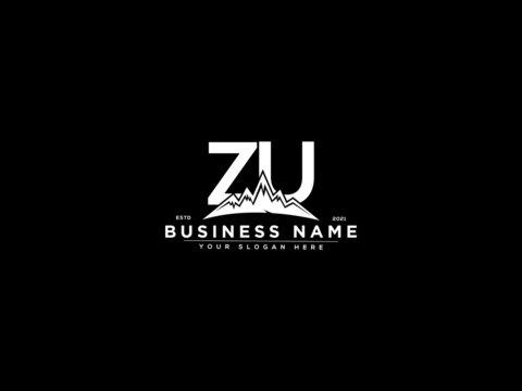 Letter ZU Logo, mountain zu logo icon vector for river forest hill landscape silhouette image design