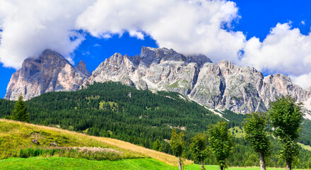 Stunning nature of Italian Alps .Wonderful valley in Cortina d'Ampezzo - famous ski resort in northern Italy, Belluno province