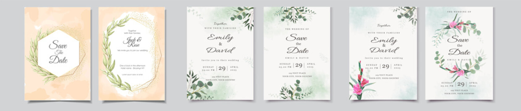 beautiful floral weeding invitation card with flower design template, beautiful vintage soft floral and leaves wedding invitation, wedding invitation cards