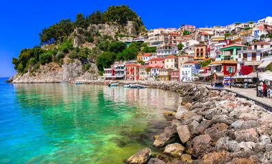 Greek summer holidays. Beautiful colorful costal town Parga in Greece , Epirus