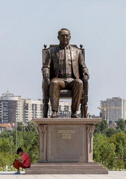 A view shows a monument to Kazakhstan's First President Nursultan Nazarbayev in Nur-Sultan