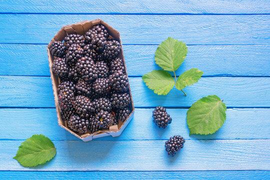 Blackberries from market.  Fresh ripe blackberries in cardboard box on blue rustic table. Flat lay. Copy space