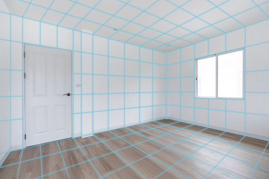 Room interior with structure grid lines