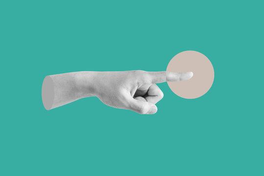 Digital collage modern art. Hand pointing finger