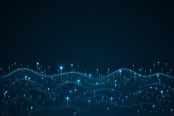 Obraz Big data visualization concept. Dynamic wave on blue background. Wave of particles - fototapety do salonu