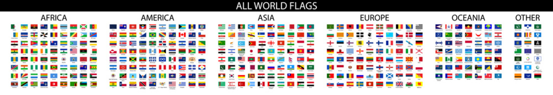 Flag of world. Vector icons.