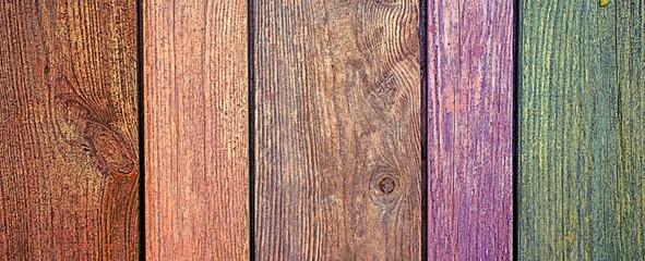 Obraz Kolorowe deski w płocie - fototapety do salonu