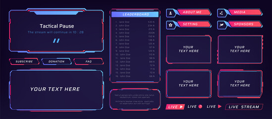 Fototapeta Game frame. Stream overlay banner with buttons and video player UI template. Futuristic live interface. Isolated streaming show graphic tags mockup. Vector square digital elements set obraz